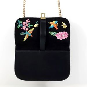 Topshop Bags - Topshop Black Crossbody Embroidered Bag #B16